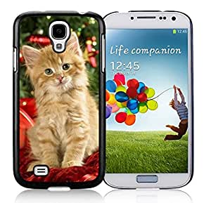 Provide Personalized Customized Christmas Cat With Colorful Christmas Tree Black TPU Protective Skin For Samsung I9500,Samsung Galaxy S4