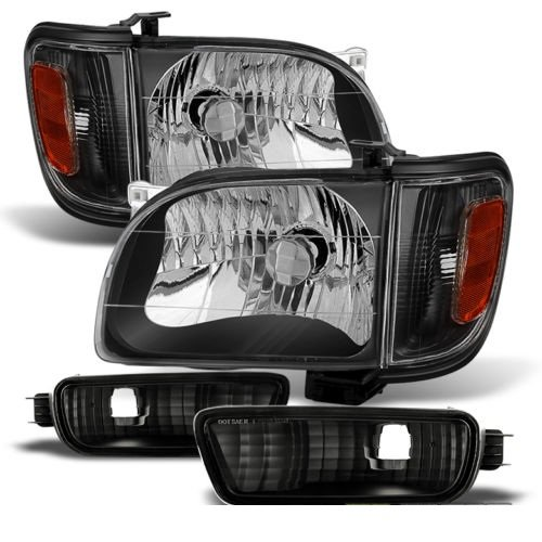 Jdragon Toyota 2001-2004 Tacoma Black Replacement Corner Signal Bumper Headlights Set