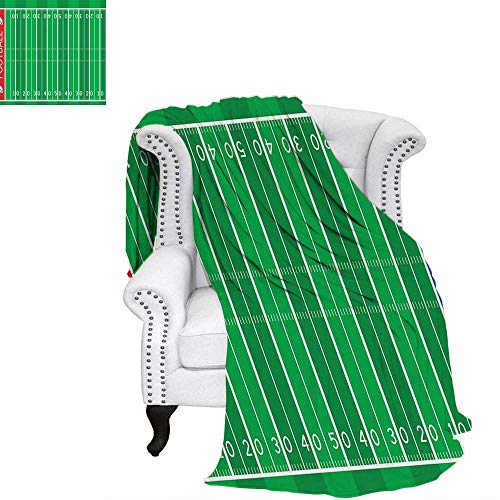 WilliamsDecor Football Travel Throw Blanket American Football Field Playground Stripes and Numbers League Scramble Score Velvet Plush Throw Blanket 60