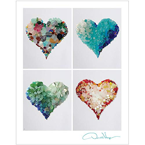 Love. Four Sea Glass Hearts Poster. Unique 11x14 Fine Art Print. Great For Framing. Best Quality Gifts for Him, Her, Birthday, Christmas, Mother's Day & Valentines Day for Men, Women & Kids.