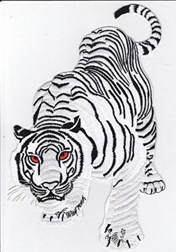 (Iron on Patch Embroidered Patches Application XXL Backpatch White Tiger Snow Cat 11.4 X 7.8 Inch)