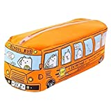 Chartsea Pen Bag Pouch Box Stationery Tools Cute School Bus Shape Pencil Case Bag Office Stationery Bag Students Kids Children Gift (Orange)