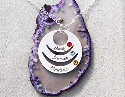 Circle Birthstone Family Necklace - IBB_19 IBD - Pendant Grandma Mom Gift - 935 Sterling Silver - Tiny Swarovski Birthstone Crystal - Generation Grandchildren Kids Birth Months Colorful