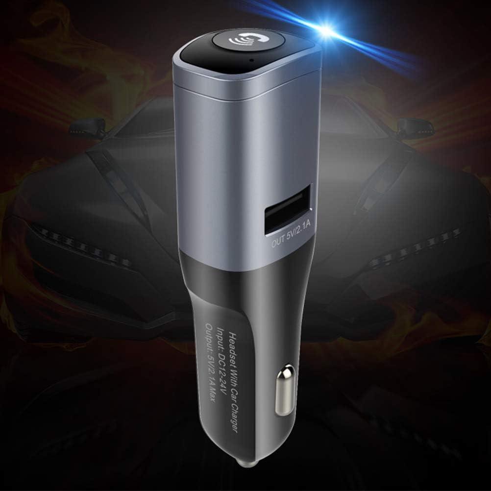 Uonlytech Chargeur de Voiture sans Fil Bluetooth avec kit oreillette 2 en 1 Car Kit 2.1A Charge Rapide Mains Libres Appel dans Les /écouteurs Intra-Auriculaires /écouteurs