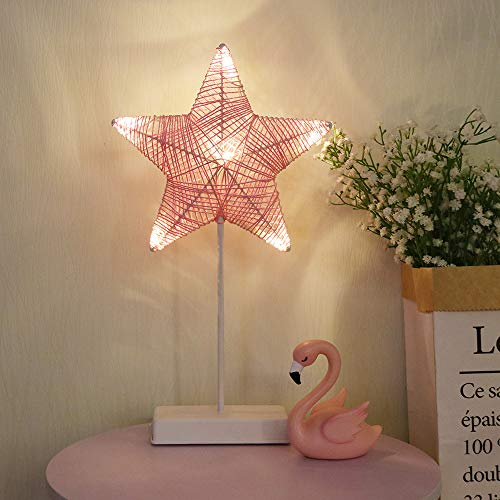 Neon Lights GUOCHENG Decor Light Led Night Light with Pedestal Warm White Battery Operated Creative Lighting Lamp Home Decoration Wall Table Decor Gift for Kids (Pink Star) ()