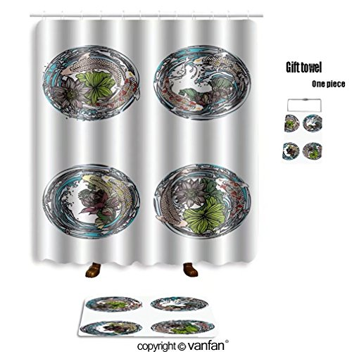 vanfan bath sets with Polyester rugs and shower curtain set lotus and koi for tattoo greeting card ga shower curtains sets bathroom 69 x 75 inches&31.5 x 19.7 inches(Free 1 - Premium In Outlets Ga