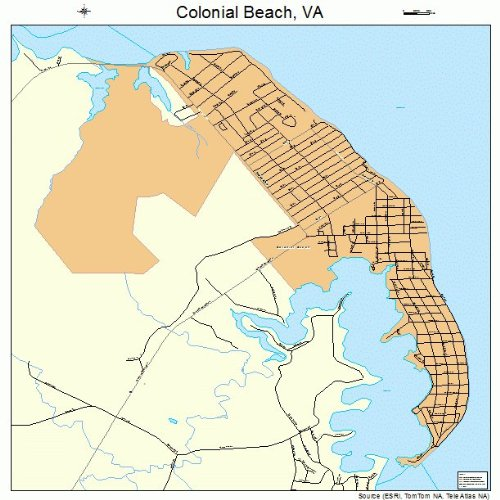 Large Street & Road Map of Colonial Beach, Virginia VA - Printed poster size wall atlas of your home - Va Beach Images