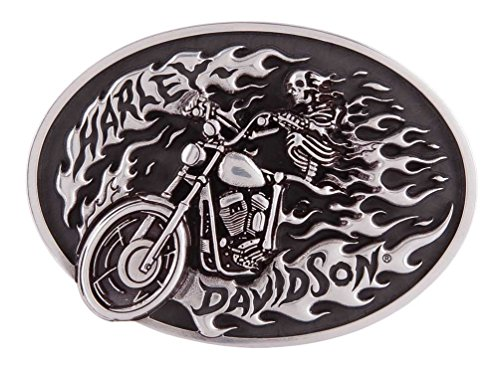Harley-Davidson Men's High on Fire Belt Buckle, Antique Silver Finish HDMBU11418 ()