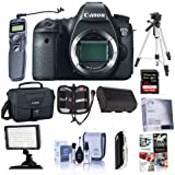 Canon EOS-6D DSLR Camera Body, 20.2 MP - Bundle with 32GB SDHC Class 10 Card, Spare Battery, Screen Protector, Cleaning Kit, Tripod, Remote Shutter Trigger, On-Camera Light, Software Pack and More