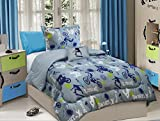 All American Collection 3 Piece Twin Size X-Treme Sports Comforter Set with Furry Friend, Matching Sheet Set and Curtain
