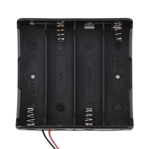 18650 Caja de batería Baterías exquisitas Caja de almacenamiento Plástico Soporte de batería para 4 PCS 18650 Baterías con conductores de cable - Negro: ...