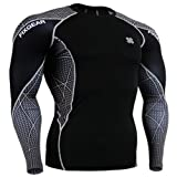 Fixgear Mens Womens Running Compression Shirt Long Sleeve Black L