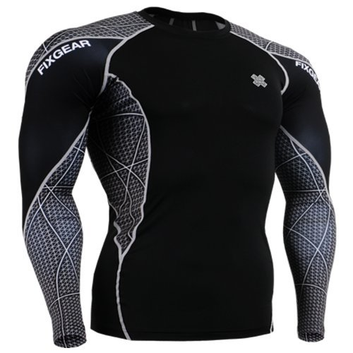 Fixgear Mens Womens Running Compression Shirt Long Sleeve Black L by Fixgear