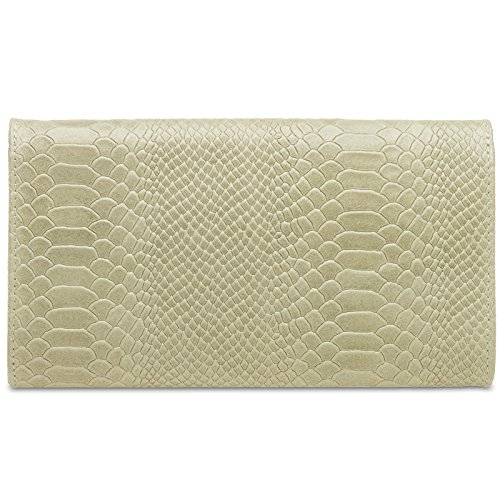 véritable cuir TL722 en enveloppe Clutch de avec imprimé soirée CASPAR femme Beige pour croco Pochette fnHWxZwg