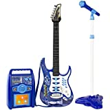 Best Choice Products Kids Electric Guitar Play Set W/ MP3 Player, Microphone, Amp Children Musical Play Set- Blue by Best Choice Products