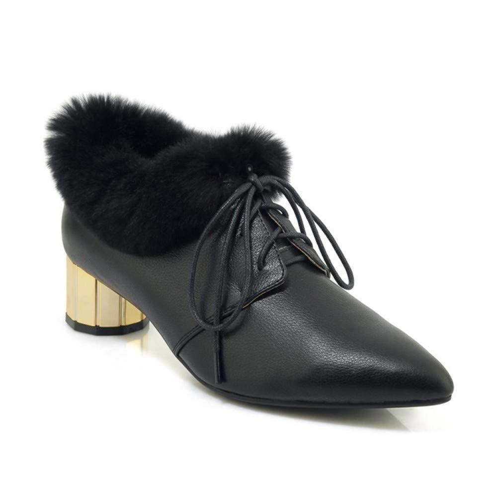 UENGF High Heel Schuhe Frau Party Spitz Spitz Spitz Schnürschuhe Pumps Schuhe Damen Winter Warm High Heels dc7fc7