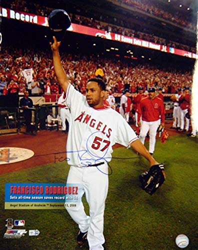 (FRANCISCO RODRIGUEZ AUTOGRAPHED 16X20 PHOTO LOS ANGELES ANGELS MLB HOLO STOCK #5970 )