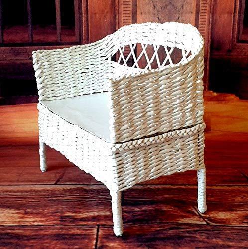 1/4 scale couch, white wicker Minifee MSD sofa. Lenas mini land traditional garden pouf furniture.