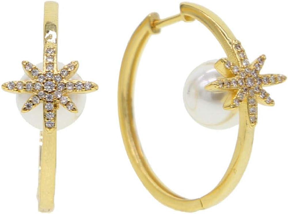 Pendientes de aro grande de oro dorado con perla redonda blanca delicada piedra decopo de nieve de estrellapara mujer Joyería de encanto de moda preciosa