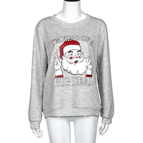 Coversolate Mujeres de impresión de Navidad manga larga Sudadera Camisa Blusa Ropa (XL, Gris)