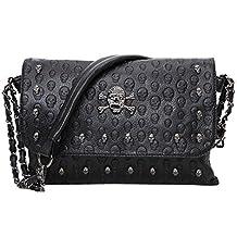 liangdongshop Girls' Cool Skull Pattern PU Leather Handbag Clutch Crossbody Shoulder Bag