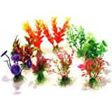 SODIAL(R) 10 x Mixte Artificiel Aquarium Reservoir de Poissons Plante Aquatique Plastique Decoration Ornement