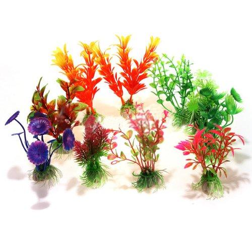 SODIAL (R) 10 x Mixed Kuenstliche Aquarium Wasserpflanze Kunststoff Dekoration Ornament