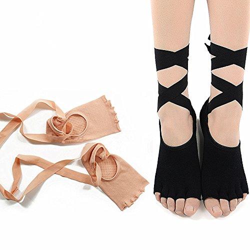 HapiLeap - Zapatillas para deportes de interior de algodón para mujer Talla única Black & Nude