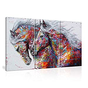 CHENSH Graffiti Colorido Caballo Lienzo Abstracto 3 Paneles Arte de Pared Caballo Pinturas al óleo Animales Impresiones…