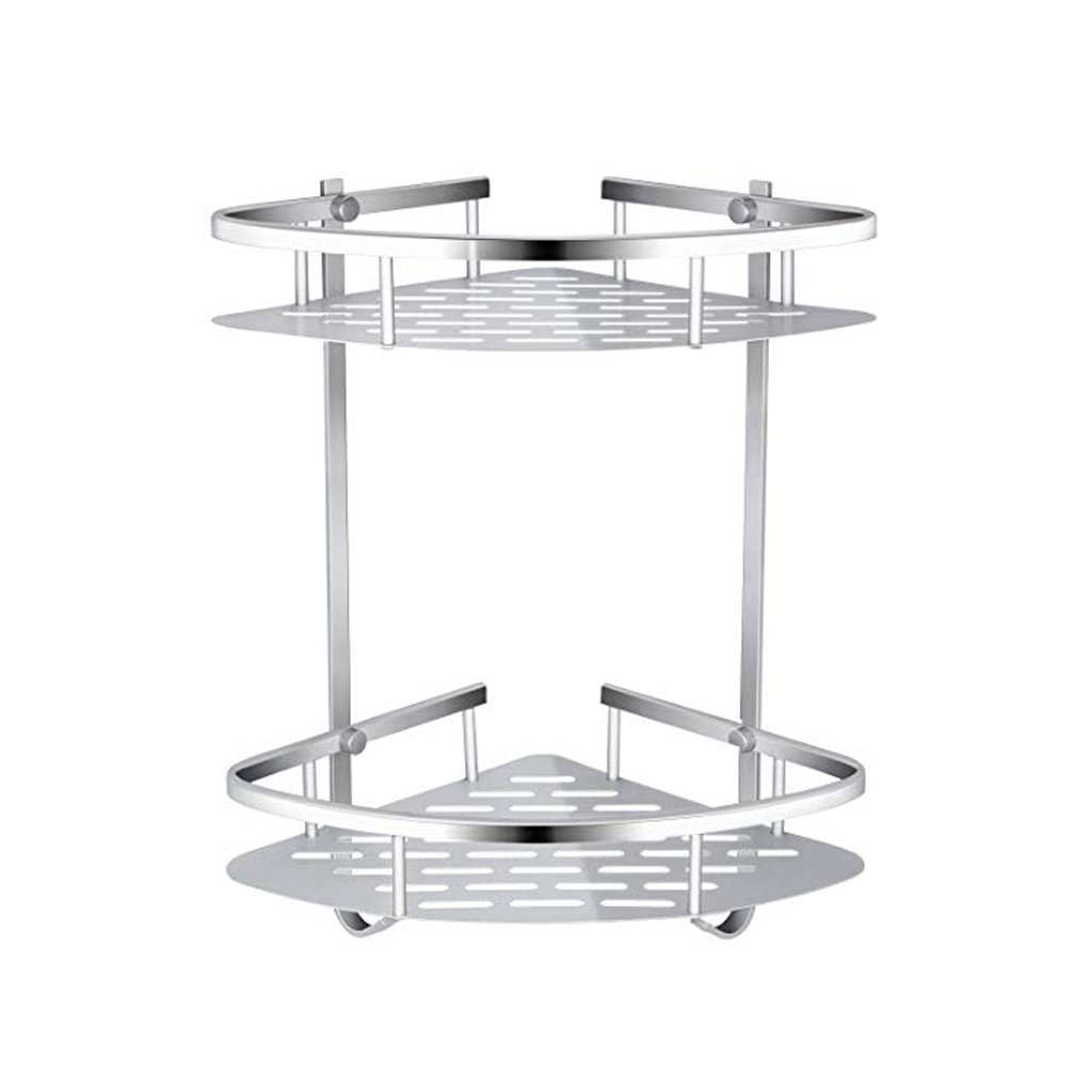 MOOLO Storage Racks Bathroom Corner Shelf Aluminum 2 Tiers Shower Basket with Two Hook For Bathroom, Kitchen, Washroom, Toilet and Hotel