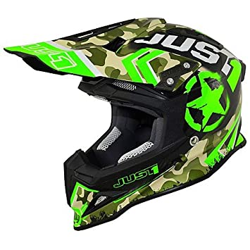 Casco Moto Cross Enduro Just One de carbono colorazione Kombat verde Large