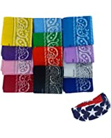 Bandanas Cotton 12 Pack With a American Flag Bandana Headband By CoverYourHair®