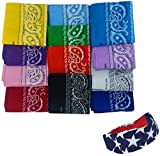 Bandanas for Women - 12 Pack Paisley Bandana - Many Colors by CoverYourHair