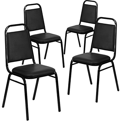 (Flash Furniture 4 Pk. HERCULES Series Trapezoidal Back Stacking Banquet Chair in Black Vinyl - Black Frame -)