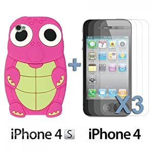 Turtle Style 3D Silicone For LG G2 Case CoverHot Pink with 3 Screen Protectors