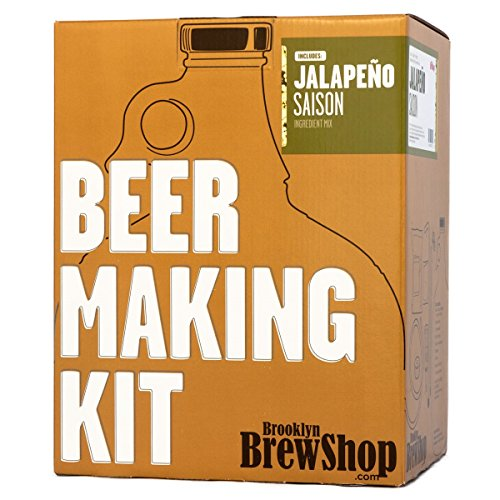 Brooklyn Brew Shop Jalapeno Saison Beer Making Kit: All-Grain Starter Set With Reusable Glass Fermenter, Brew Equipment, Ingredients (Malted Barley, Hops, Yeast) Perfect For Brewing Craft Beer At Home (Jalapeno Beer)