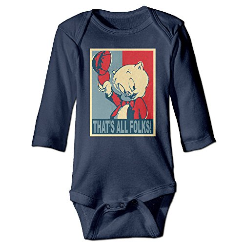 POPYol Baby's Porky Pig That S All Folks Hanging Bodysuit Romper Playsuit Outfits Clothes Climbing Clothes Long Sleeve Navy