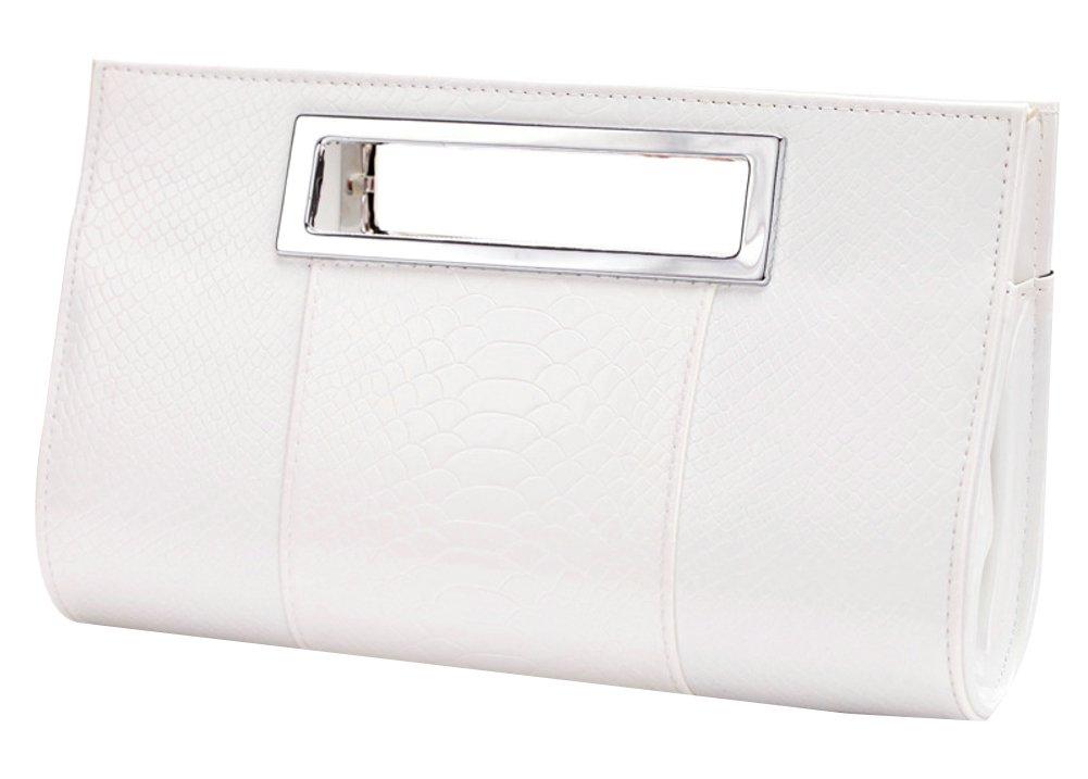 Ilishop Women's Classic Crocodile Pattern Faux Leather Metal Grip Clutch (White)