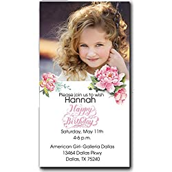 Party invitations for girls/printed invitations/kids birthday/pink/set of 20