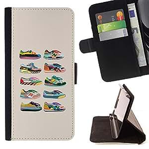 For Sony Xperia Z5 (5.2 Inch) / Xperia Z5 Dual (Not for Z5 Premium 5.5 Inch) Case , Zapatillas de deporte de los zapatos de Entrenadores Colección Beige- la tarjeta de Crédito Slots PU Funda de cuero Monedero caso cubierta de piel