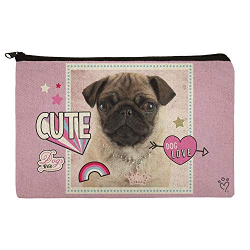 Cute Pug Puppy Dog Love Pencil Pen Organizer Zipper Pouch Case