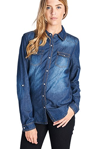 - Ci Sono Women's Vintage Washed Denim Chambray Long Sleeve Button Down Shirt (XL, Dark Wash)