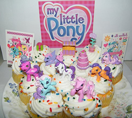 My Little Pony Deluxe Mini Cake Toppers Cupcake Decorations Set of 14 with Figures and Tattoos Featuring the Popular Pony Characters! (Miss Cake My Little Pony)