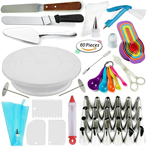 Cake Decorating Supplies Kit VIPorama 60pcs Set 1 Cake Turntable Stand 2 Icing Spatulas 24 Icing Tips 1 Cake Server 11 Pastry Bags 2 Cake Flower Nail 2 Pens 3 Scrapers 5 Measuring Spoons 6 (Decorating Kit Set)