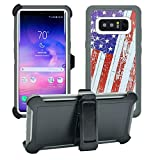 AlphaCell Cover Compatible with Samsung Galaxy Note 8 | Holster Case Series | Military Grade Protection with Carrying Belt Clip | Protective Drop-Proof Shock-Proof | Grey/Flag