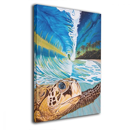 Mout Art Sea Turtle Crashing Wave Painted Framed Oil Paintings Printed On Canvas Wall For Office Home Decor Pictures Modern Artwork Hanging For Living Room Decorations Ready To Hang