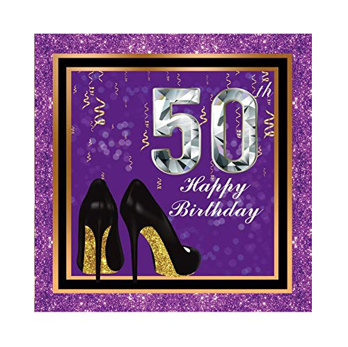 Yeele 5x5ft Glistening Purple Background Happy 50th Birthday Photography Backdrop High-Heeled Shoes Black Gold Frame Party Decoration Event Celebration Lady Artistic Portrait Photo Studio Props