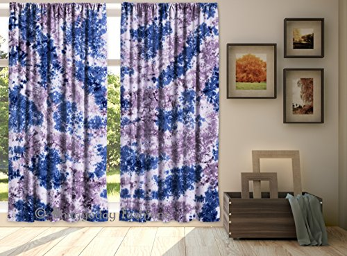 Indian Hand Tie Dye Shibori Mandala Curtains, Tapestry Drapes, Portiere, Voile Curtain, Treatment Valance 2 Pcs Set By Shree Jinvaram