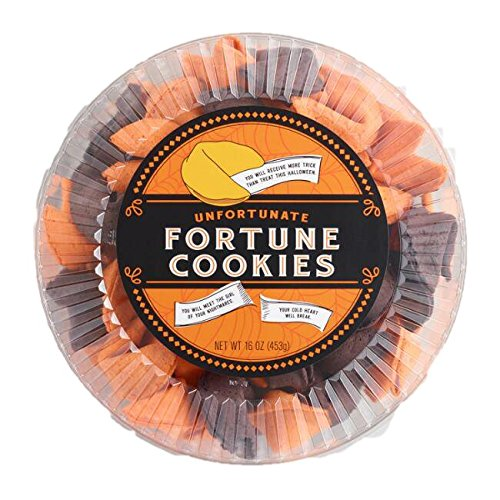 (Halloween Unfortunate Fortune Cookies Pack of 50 in Orange and Black with Creepy Unfortunate Messages)
