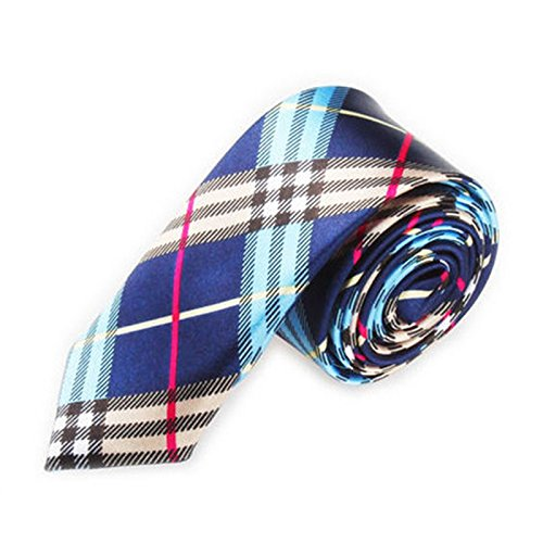 - SODIAL(R)Men Fashion Casual Skinny Slim Narrow Tie Formal Wedding Party Necktie, #6 (Dark blue + Beige Plaid stripes) (Plaid Narrow Tie)